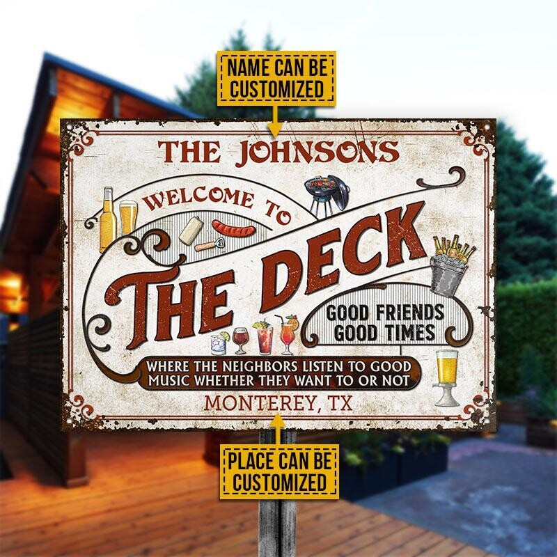 Personalized Deck Grilling Red Listen To The Good Music Custom Classic Metal Signs