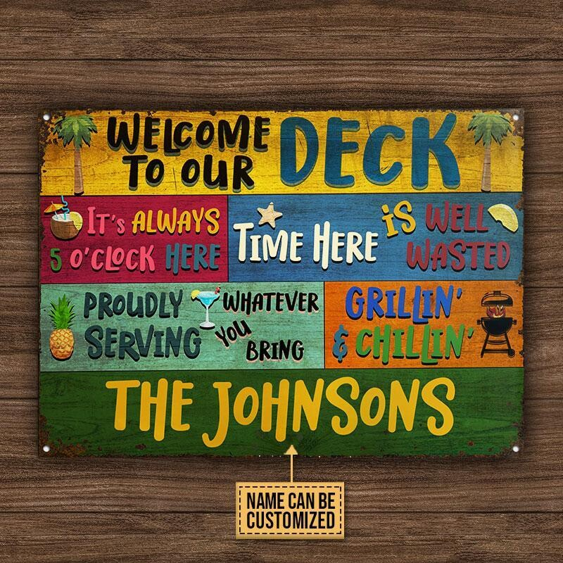 Personalized Deck Welcome Grillin And Chillin Custom Classic Metal Signs