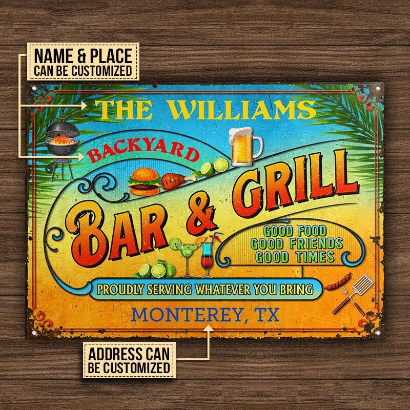 Personalized Grilling Summer Good Food Good Friends Customized Classic Metal Signs