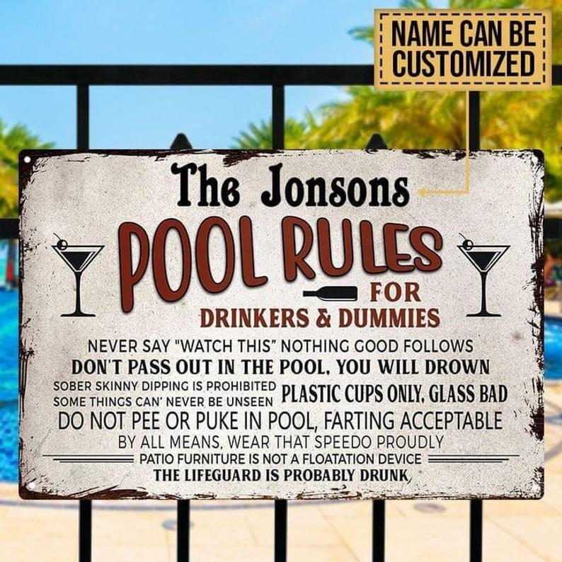 Pool Rules for Drinkers and Dummies Custom Name, Swimming Pool Sign Custom Classic Metal Signs, pool metal signs