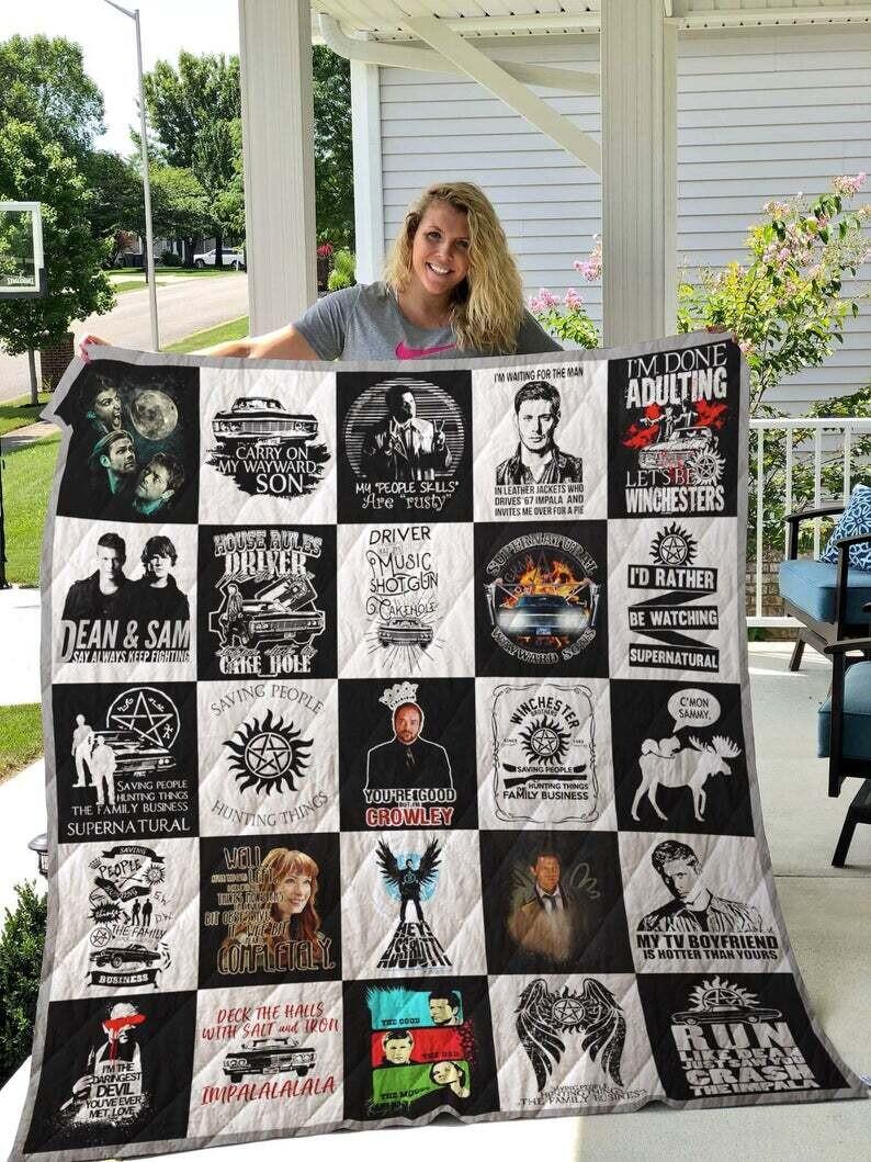 Supernatural Blanket Quilt The Winchester Brothers Sam Dean Supernatural Series Blanket