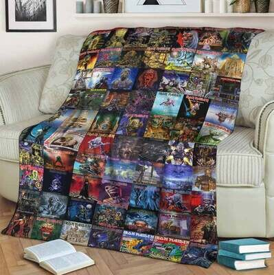 Iron Maiden Mexico Collage Quilt Love Music Blanket, Fleece Blanket, Gift For Lovers, Annivesary Gift, Special Gift