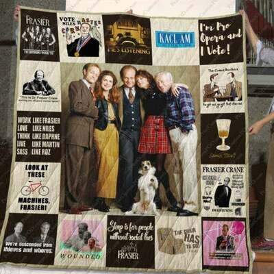 Frasier Characters Quotes Quilt Blanket,Gift For Frasier TV Series Fans Quilt Blanket