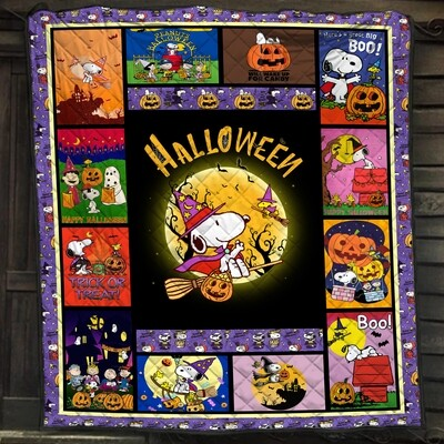 Snoopy Quilt Blanket, The-Peanuts Quilt Blanket, Charlie Brown Quilt Blanket, Halloween Quilt, Best gift Quilt, Gift for dad, Gift for mom