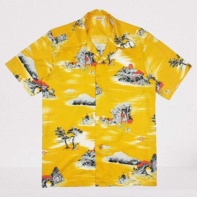 Hawaiian Shirt Yellow Once Upon a Time In Hollywood,Summer 3D Hawaii Shirt,Boothe Palm Trees Aloha Button Shirt,Tropical Palm Tree Beach Tee