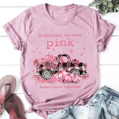In October We Wear Pink Breast Cancer Awareness Shirt, Sunflower Pumpkin Breast Cancer Truck Shirt, Breast Cancer Warrior Shirt