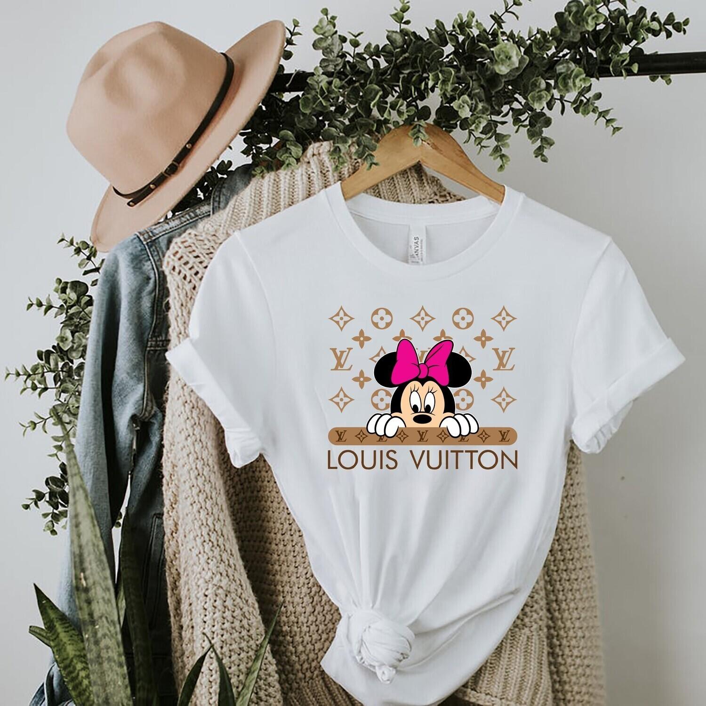 Cute Minnie Logo Louis Vuitton Shirt LV T-shirt Louis Vuitton Logo Fashion LV Design Fashion Shirts for Women Men Vintage  Unisex T-Shirt Hoodie Sweatshirt Sweater for Ladies Women Men Kids Gifts