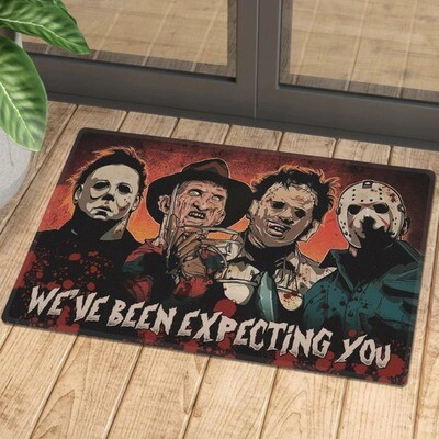 Horror Movie Characters Expecting You Doormat, Gifts for Home, Gifts For Halloween, Horror Movie Fans Doormat House Warming Gift