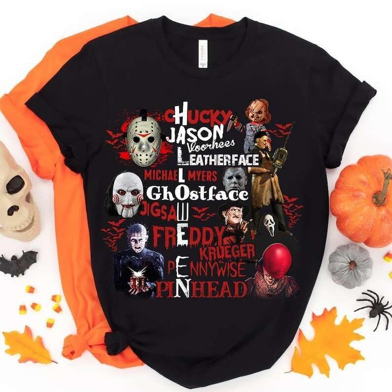 Halloween Movie Characters Horror Shirt, Horror Movies Shirt, Halloween Shirt, Halloween Squad, Halloween Costume Shirt Long Sleeve Sweatshirt Hoodie Jolly Family Gift
