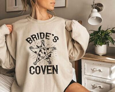 Bride's Coven Sweatshirt, Bride Party Gift, Halloween Wedding Sweatshirt Hoddie, Bachelorette Sweatshirt, Witch Themed Hen Party  Trending Unisex Tank Top Sweatshirt Hoodie Long Sleeve T Shirt