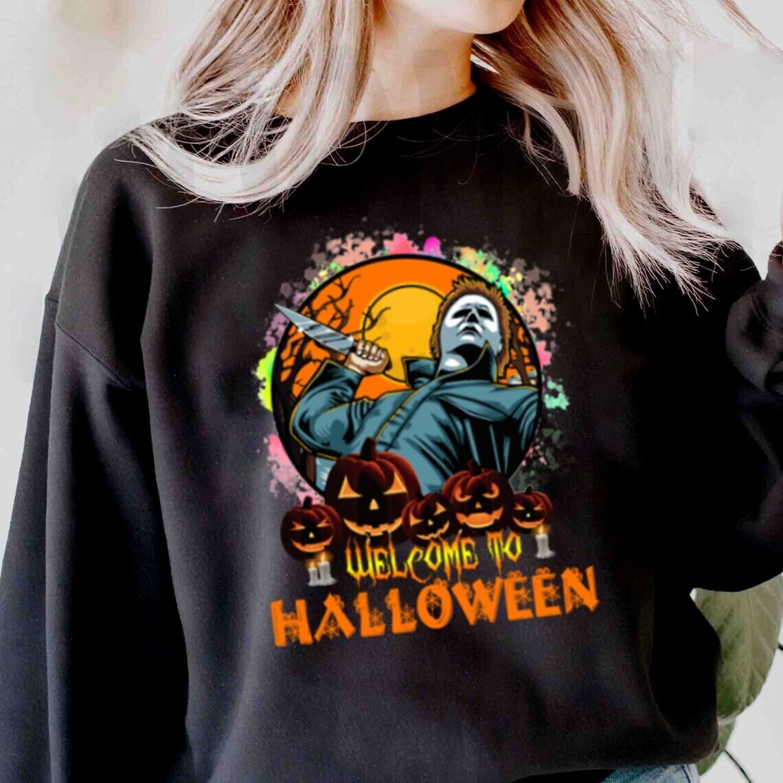 Halloween Michael Myers Bleached Shirt, Michael Myers A Real Man Will Chase After You Shirt,Horror Friend, Halloween Squad, Halloween Costume Shirt Long Sleeve Sweatshirt Hoodie Jolly Family Gift