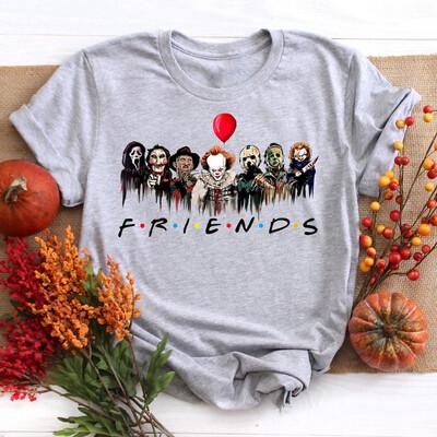 Halloween Horror Movie Killers, Scary Friends Shirt, Friends Halloween Shirt, Halloween Scary Shirts, Horror Squad Gift Trending Unisex Tank Top Sweatshirt Hoodie Long Sleeve T Shirt