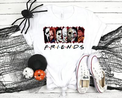 Friends Horror Movie Shirt, Halloween Horror Killer Shirt, Happy Halloween Shirt, Horror Squad Shirt, Scary Movies Fan Gift Trending Unisex Tank Top Sweatshirt Hoodie Long Sleeve T Shirt