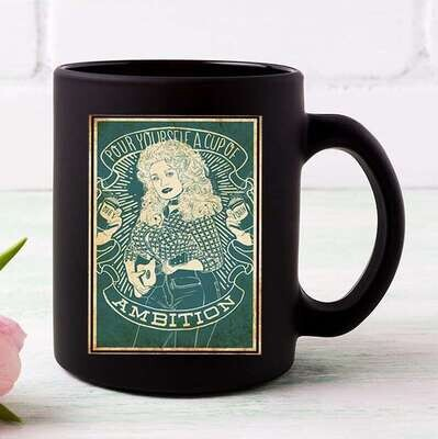 Vintage Pour Yourself A Cup Of Ambition Dolly Parton Coffee Mug 11 Oz Black White Mug 11OZ, 15 OZ