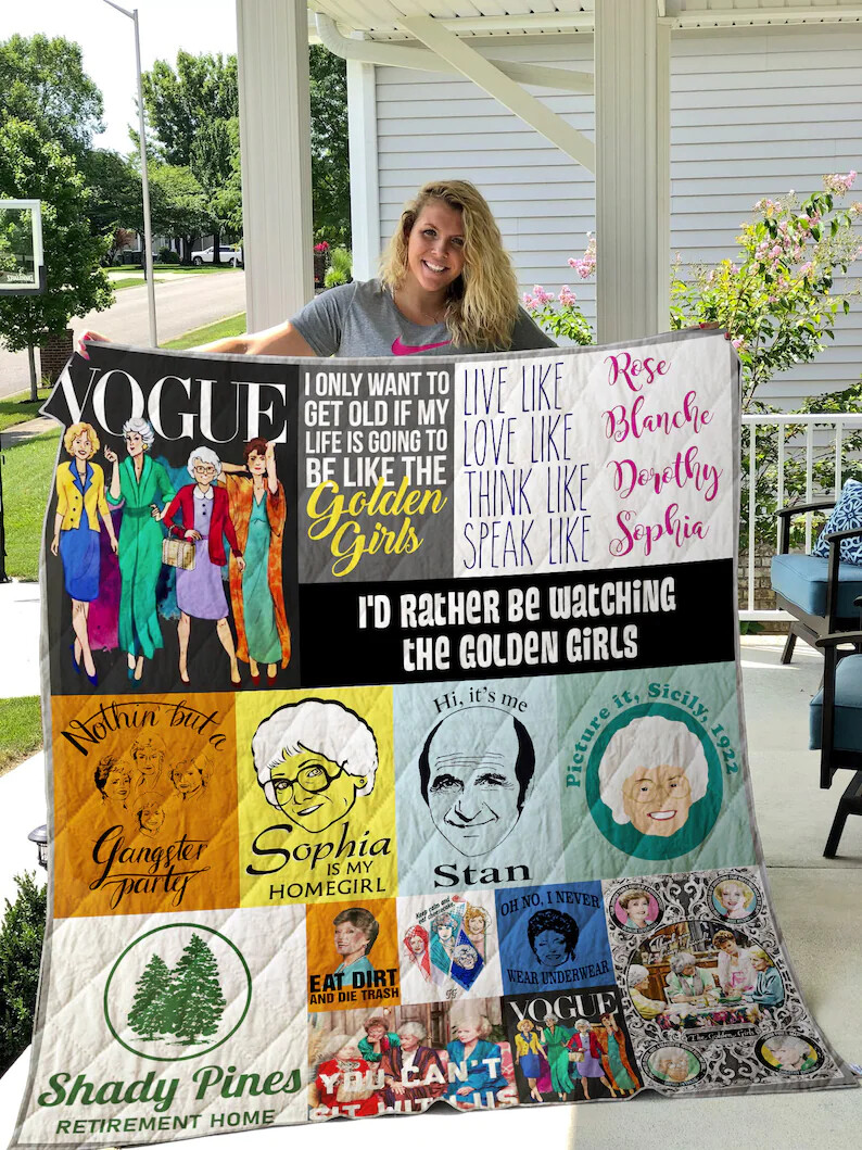 Love Golden Girls Blanket Quilt 02, Golden Girls Blanket, Friends Quilt, Gift for Fans, Halloween Christmas Gift Jolly Family Gift