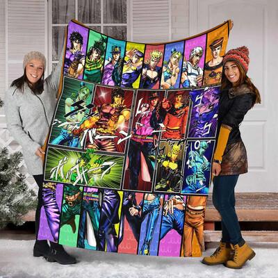 Jojo's Bizarre Adventure Quilt Fleece Blanket,Mink Blanket,Sherpa Blanket,Birthday,Christmas Gift,Family Blanket,Special Blanket Jolly Family Gift