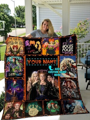 Love Hocus Pocus Your Name Halloween Blanket Quilt, Hocus Pocus Blanket, Sanderson Sisters Printed Quilt, Gift for Fans, Halloween Gift Jolly Family Gift