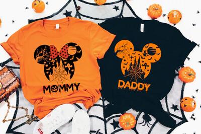 Disney Castle Family matching shirt on Halloween, Mickey mouse tshirt for all family member, Orange halloween shirt, Disney Trending Unisex Tank Top Sweatshirt Hoodie Long Sleeve T Shirt