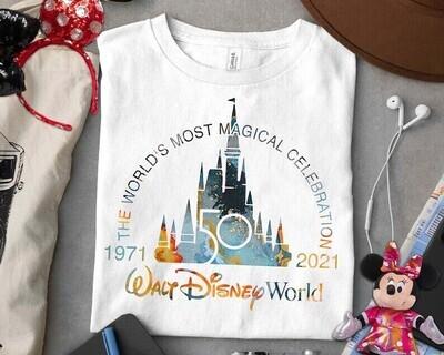 Disney 50th Shirt, Disney Anniversary Shirts, Disney Castle Shirt, Disney Trip  Trending Unisex Tank Top Sweatshirt Hoodie Long Sleeve T Shirt