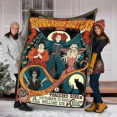 Hocus Pocus Quilt Blanket , Blanket for Girl , Blanket for Boy ,Birthday Gift,Christmas Gift,Halloween Gift Jolly Family Gift