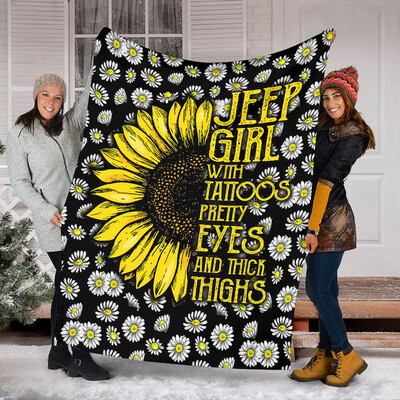 Jeep Girl With Tattoos Pretty Eyes And Thick Fleece Blanket Great Customized Blanket Gifts For Birthday Christmas Thanksgiving Graduation Jolly Family Gift