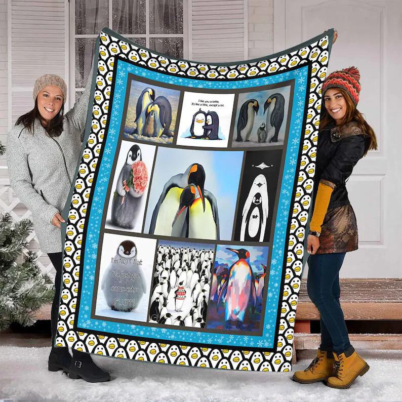 I Love Penguins Quilt Fleece Blanket, Mink Blanket, Sherpa Blanket,Birthday,Christmas Gift, Family Blanket,Special Blanket Jolly Family Gift
