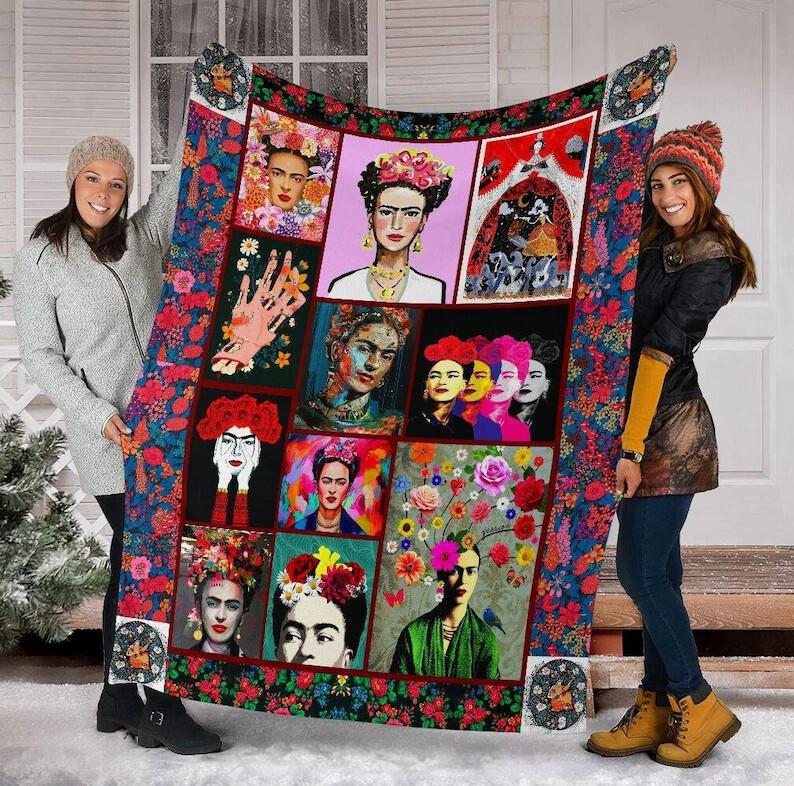 Frida Kahlo Blanket, Frida Mexico Blanket, Gift For Frida Kahlo Lover, Frida Kahlo Vintage,Feminist Blanket,Girl Power Fleece Sherpa Jolly Family Gift