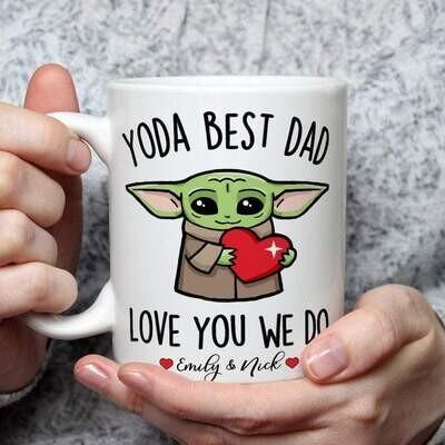 Custom Name Fathers day Gift Yoda Best Dad Love you I do Mug 11oz 15oz Jolly Family Gift