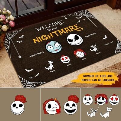 Personalised Custom Name Welcome to nightmare Doormat, Halloween Doormat, Gift for Halloween, Gifts for Home, Doormat House Warming Gift