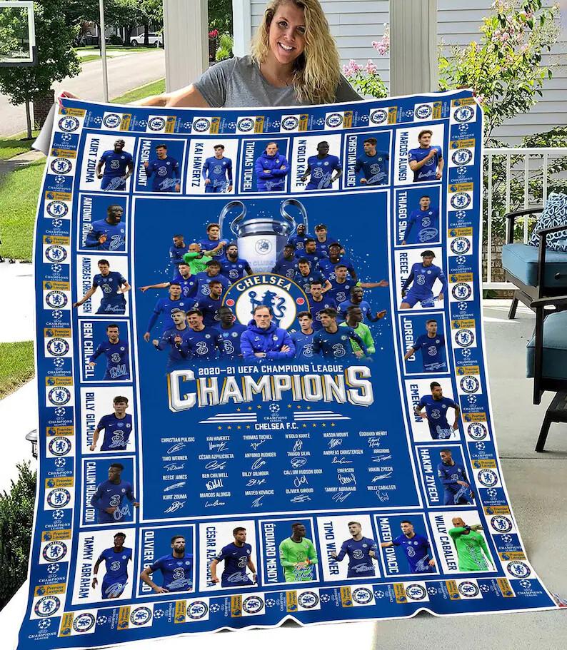 Chel-sea 2021 UEFA-Champions-League Blanket, Chelsea-Club Blanket, Chelsea-Champion Blanket, Chelsea Blanket, Football Lover, Sport Blanket Jolly Family Gift