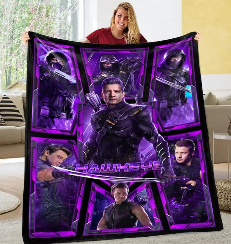 Hawkeye-Marvel Blanket, Hero Blanket, Clint Barton Blanket, Mar-vel Hero Blanket, Jeremy Renner Blanket,Movie Lover Blanket,Blanket gift Jolly Family Gift