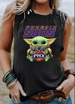 Phoenix Suns Baby Yoda Star Wars Tank Top, Yoda Phoenix Suns Shirt, NBA Baby Yoda Trending Hoodie Sweatshirt Sweater for Ladies Women Men