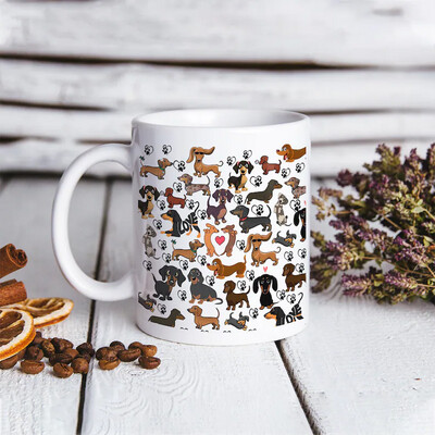 Dachshund Mug, Double Trouble Dachshund Mug, Dapple Long Wirehaired Dachshund Owner Mug Jolly Family Gift