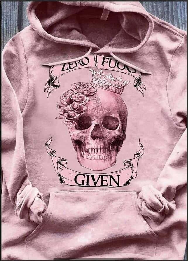 Zero Fuck Given Halloween Party Gift Trending Hoodies Sweatshirt Long Sleeve V Neck Tank Top Tee  Shirt