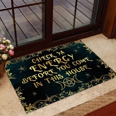 Check Yall Enery before you come in this house Doormat, Halloween Doormat, Gift for Halloween, Gifts for Home, Doormat House Warming Gift