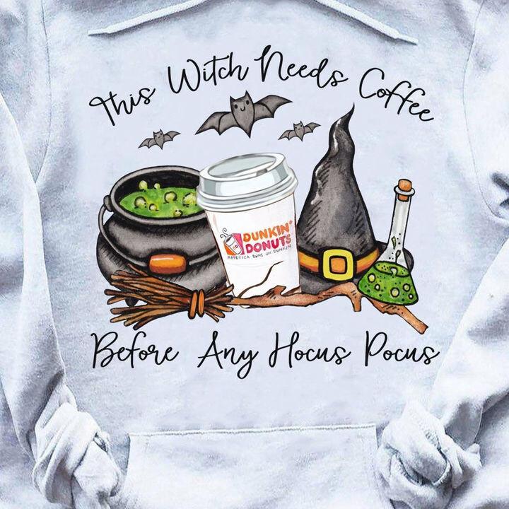 The witch needs coffee before any Hocus Pocus Halloween Gift Halloween Party Trending Hoodies Sweatshirt Long Sleeve V Neck Tank Top Tee  Shirt