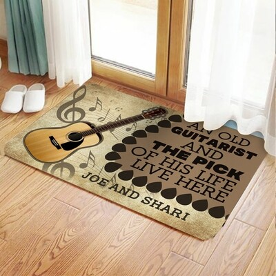 Personalized an Old Guitarist and The Pick of His Life Live Here Personalized Doormat Rug Housewarming Gift Family Welcome Mat Custom Name, Gifts for Home, Doormat House Warming Gift