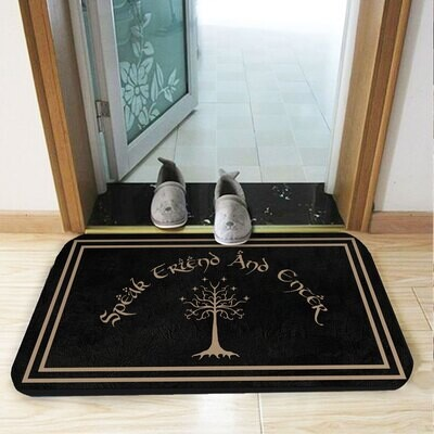 Speak Friend and Enter Doormat Lord of The Rings Welcome Mat Housewarming Gift Custom Personalized Door Mat Welcome Mat Custom Name, Gifts for Home, Doormat House Warming Gift