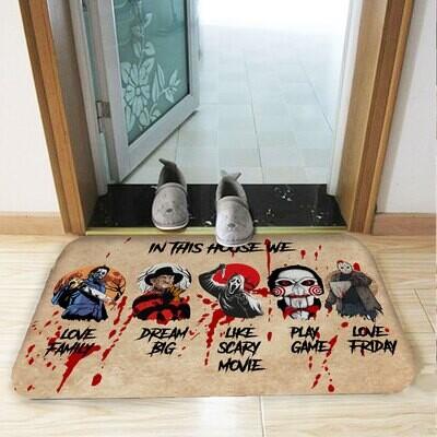 Horror Movies Doormat, Horror Characters Doormat, in This House We Love Friday Doormat, Horror Squad Mat, Horror Lover Gift, Hallowee Funny Doormat, Housewarming Gift, Doormat House Warming Gift