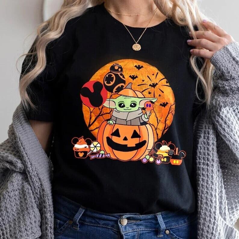 Star Wars Halloween Shirt, Disney Halloween Shirts, Baby Yoda Pumpkin Shirt, Halloween Party 2021, Baby Yoda Halloween T-shirt
