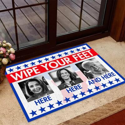 Wipe Your Feet Here Here And Here Doormat, Anti Biden Harris Pelosi Doormat, Housewarming Gift, Home Accessories, Funny Political Mat, Housewarming Gift, Doormat House Warming Gift