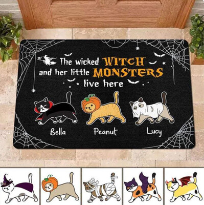 Personalized The Wicked Witch And Her Little Monsters Live Here Doormat, Cat Mom Gift, Halloween Doormat, Housewarming Gift, New Home Gift, Housewarming Gift, Doormat House Warming Gift