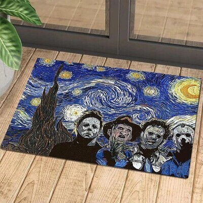 Horror Movie Characters Quartet Killers Starry Night Doormat, Gifts for Home, Gifts For Halloween, Horror Movie Fans Doormat, New Home Gift, Housewarming Gift, Doormat House Warming Gift