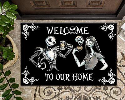 Welcome To Our Home Doormat, Halloween Doormat, Horror Couple Doormat, Scary Welcome Mat, Spooky Doormat, Horror Lover Gift, New Home Gift, Housewarming Gift, Doormat House Warming Gift