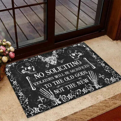 Skeleton No Soliciting Witch To The Old God Polyester Door Mat, Loving Skull, Happy Halloween,Gift Doormat, New Home Gift, Housewarming Gift, Doormat House Warming Gift