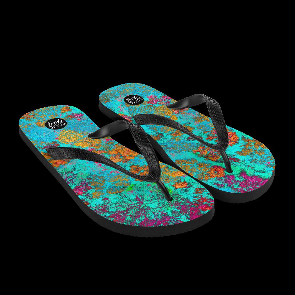 Aqua Neon Trees Flip-Flops
