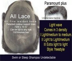 Paramount plus All-Welded Lace Hair Replacement system