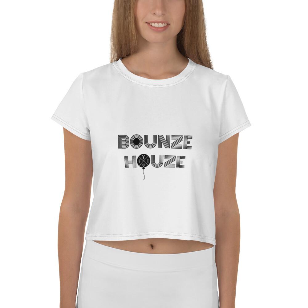 """Bounze Houze """"hEYE Vibez"""" All-Over Print Crop Tee (Women's)"""