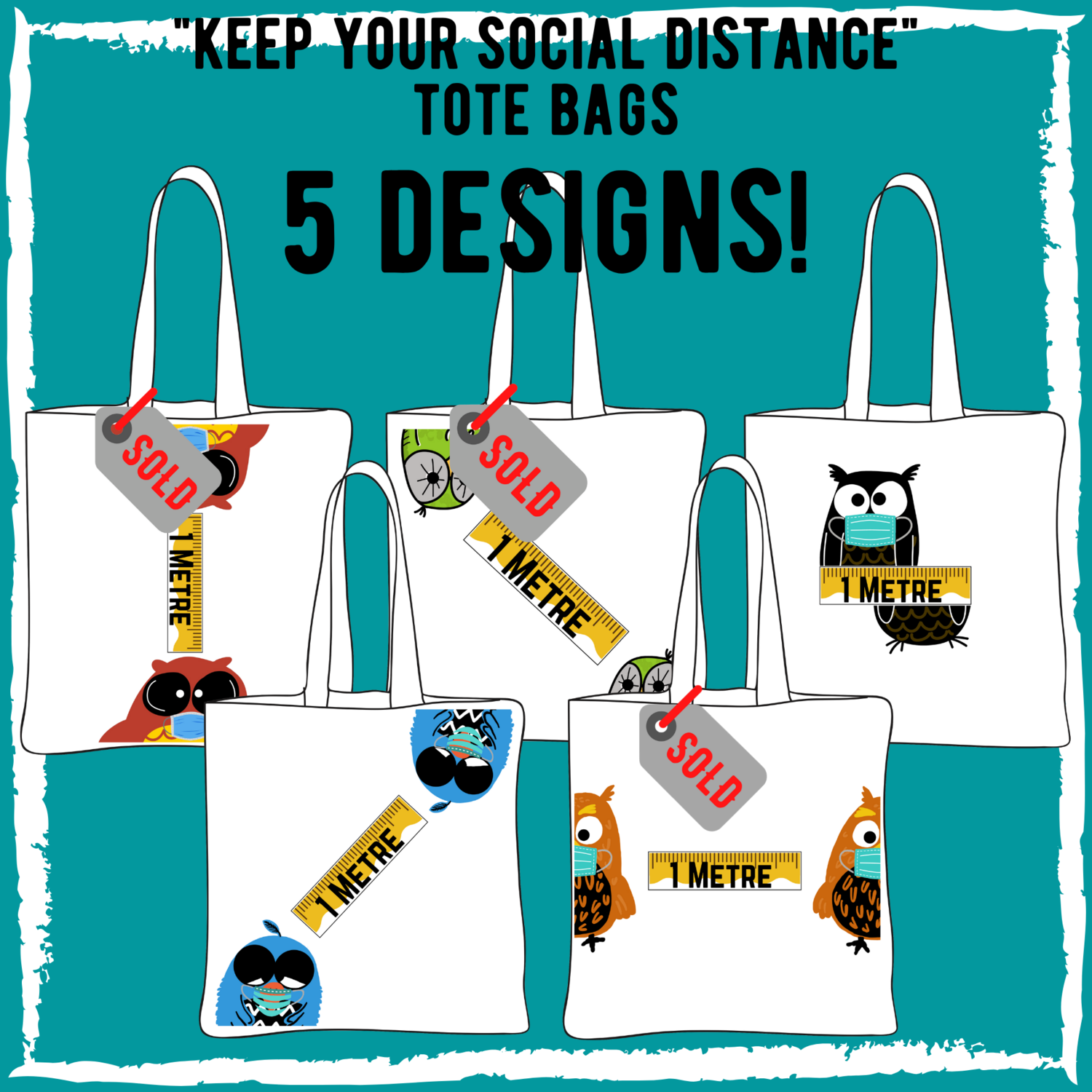 """""""Keep Your Social Distance"""" - White Canvas Tote Bag - 5 Designs"""