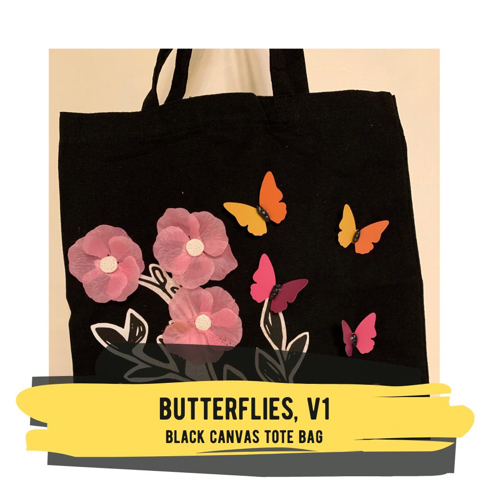Butterflies - Black Canvas Tote Bag